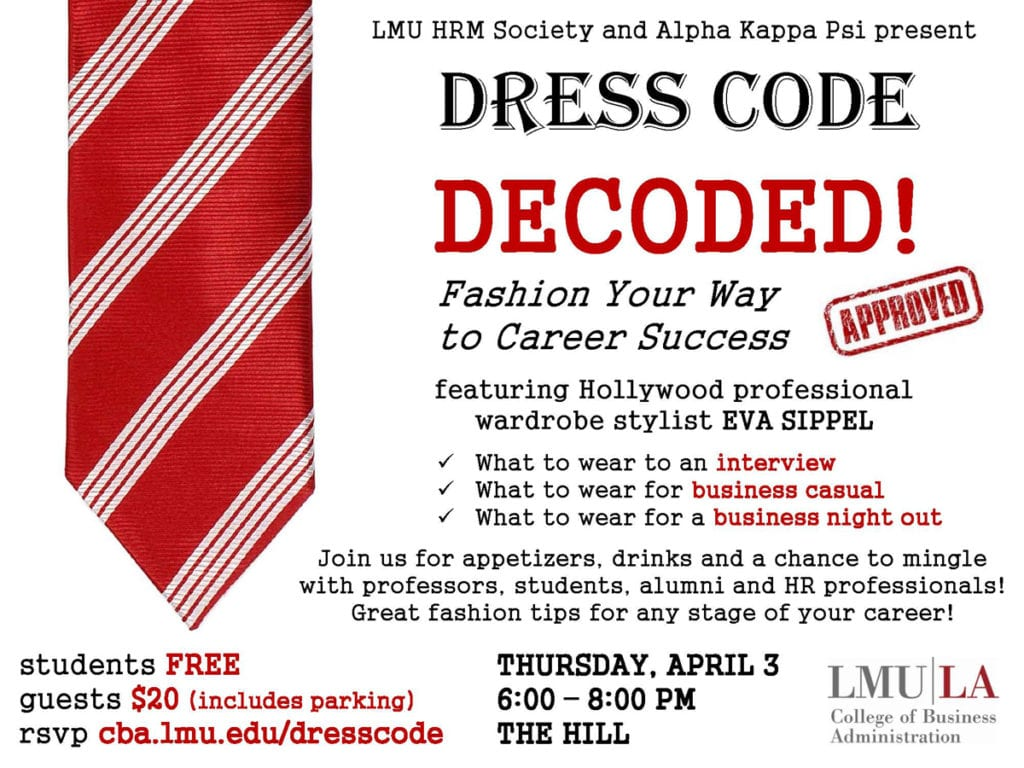 Flier about the dress code event